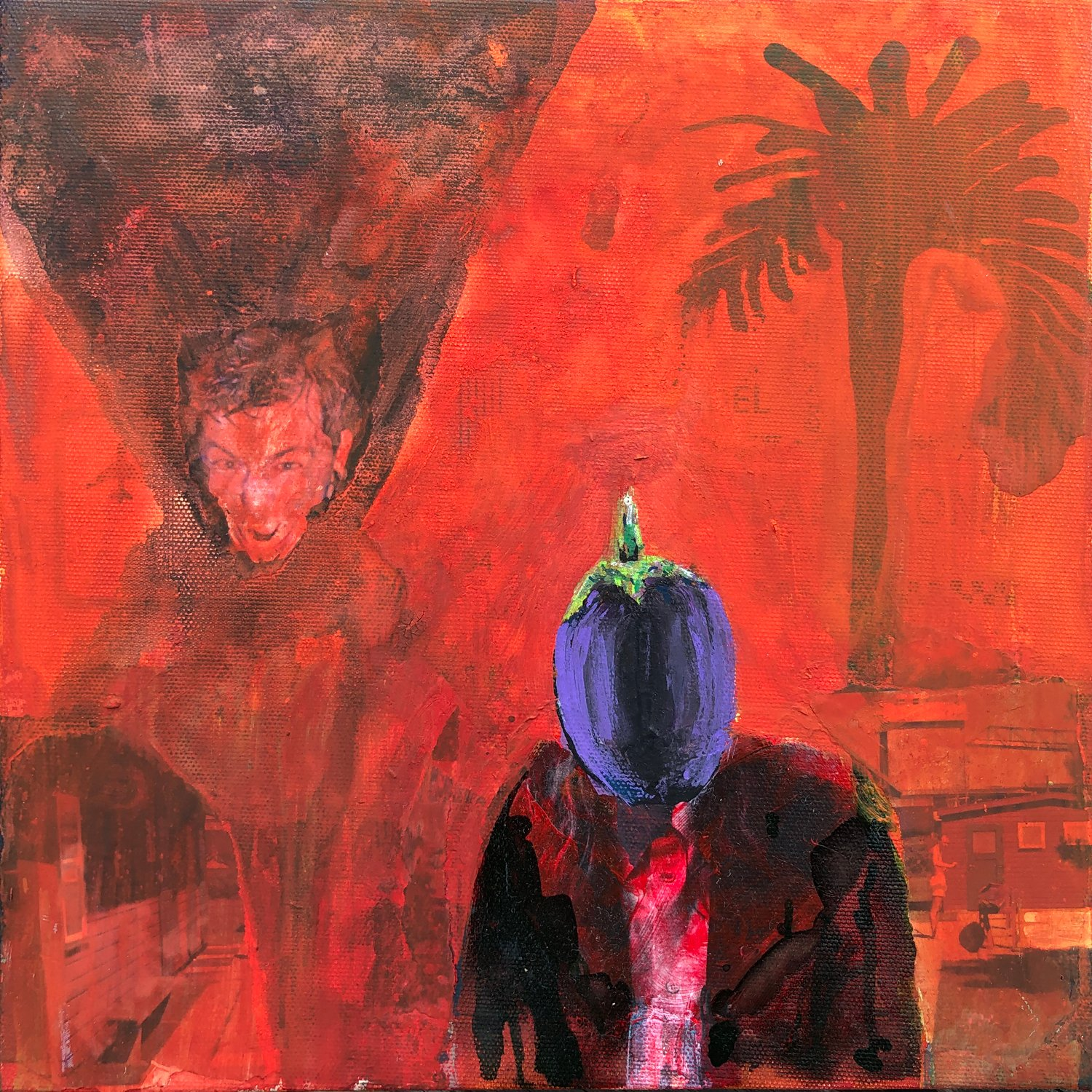 Eggplant Man With Selfportrait
